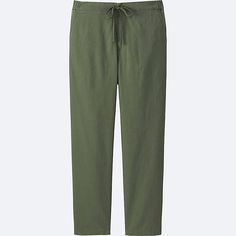 WOMEN COTTON LINEN RELAXED PANTS, OLIVE
