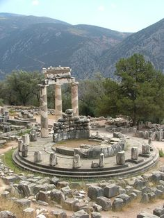 Temple of Athena pronoia at Delphi oracle archaeological site in Greece Stock Photo Architecture Antique, Ancient Greek Architecture, Ancient Ruins, Ancient Greece, Ancient History, Places To Travel, Places To See, Oracle Of Delphi, Delphi Greece