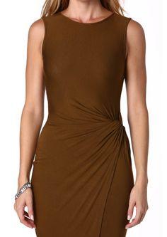 Lush Asymmetrical Side Knot Midi Dress