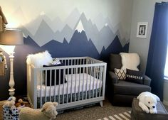 Gray and White Adventure Nursery Mountain Range Mural - Project Nursery