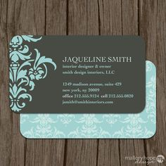 Bold Damask Business Card Calling Card Mommy Card Contact Card Interior Designer Event Planner Business Cards Modern Calling Cards