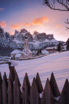 Colfosco - San Vigilio church in Colfosco at sunset (Dolomiti - Trentino Alto Adige - italy)