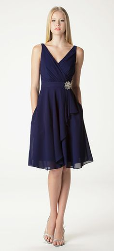 Style 603. Sleeveless v-neck bridesmaid dress with built in waistband.  Ariadress.com