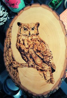 Easy Wood-Burning Owl If you are looking for great tips on woodworking, then www … Wood Burning Stencils, Wood Burning Tool, Wood Burning Crafts, Wood Burning Patterns, Wood Crafts, Easy Wood Projects, Easy Woodworking Projects, Art Projects, Woodworking Plans