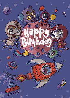 С днем рождения космос открытка, мороз