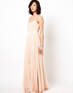 Dress: maxi chiffon blush spaghetti strap long bridesmaid es
