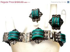 Sterling Silver Green Obsidian Set Bracelet Earrings Vintage JRA  Mexican sterling silver bracelet and earrings set  Carved green obsidian
