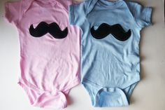 Twins Birthday - Birthday Twins Outfit - Twins Mustache - 12 Months - Twin First Birthday - Pink and Blue - Blue and Pink - Birthday Babes. $40.00, via Etsy.