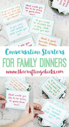 Family Dinner Conversation Starter Cards for family dinners or holidays! Perfect for the Thanksgiving Table!