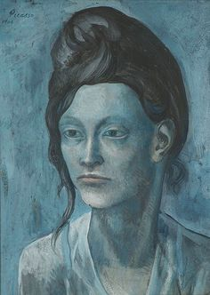 Pablo Picasso (1881-1973), Woman with a Helmet of Hair, 1904. gouache on panel, 42.7 x 31.5 cm