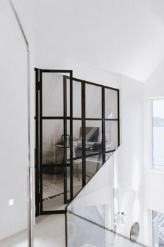 Wall with french doors Cube Chair, Sliding Gate, Wrought Iron Fences, Bistro Chairs, Banisters, French Doors, My Dream Home, Glass, House