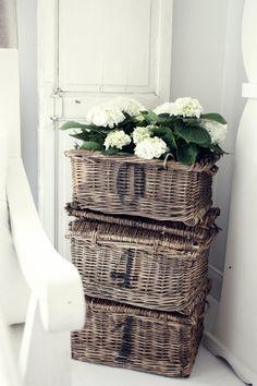 White Hydrangeas and the new Marine woven basket set ~ via My Sparrow