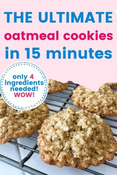 These oatmeal cookies are the ultimate treat. Simple to make with just 4 ingredients in 15 minutes, these are perfect mommy and me treats! Enjoy them on a rainy day, after school snack, as a dessert, or all of the above! You will absolutely love these!