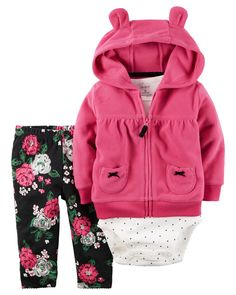 Taking her from tummy time to nap time, this fleece zip-front cardigan set features front pockets and a cozy hood with animal ears. Complete with a coordinating bodysuit and pants.