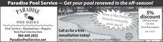 Paradise Pool Service www.ParadisePoolService.net