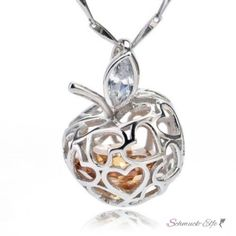 Anhänger Herz Apfel mit schwebenden Zirkonia  925 Silber...