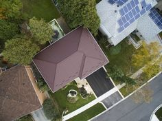 Bird's eye view - new metal roof installation by Green Metal Roofing Steel Pergola, Pergola With Roof, Pergola Shade, Patio Roof, Pergola Plans, Diy Pergola, Pergola Kits, Pergola Ideas, Green Metal Roofing