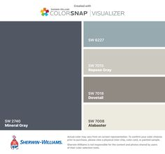 I found these colors with ColorSnap® Visualizer for iPhone by Sherwin-Williams: Mineral Gray (SW 2740), Meditative (SW 6227), Repose Gray (SW 7015), Dovetail (SW 7018), Alabaster (SW 7008).