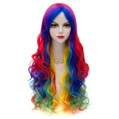 Trendy Towheaded Side Bang Long Wavy Synthetic Charming Offbeat Rainbow Ombre Capless Wig For Women