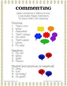 Ms. Lane's SLP Materials: Pragmatics: Commenting in Conversation
