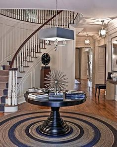 Greenwich, Connecticut (House I) by Roughan Interior Design.Love a round entry table Decor, Entry Way Design, House Design, Home Design Decor, Entry Foyer, Interior Design, Foyer Design, Interior, Round Entry Table