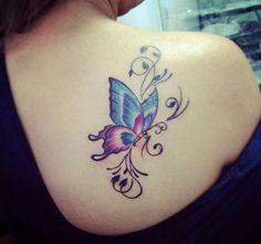 beau tatouage de papillon – foot tattoos for women flowers Lila Tattoos, Purple Tattoos, Key Tattoos, Rose Tattoos, Body Art Tattoos, Tribal Tattoos, Small Tattoos, Tatoos, Butterfly With Flowers Tattoo