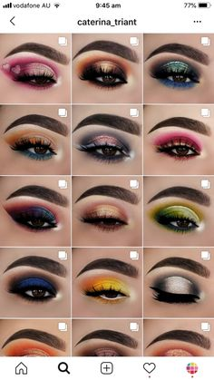 Here are 19 of our feed ideas, themes and feed layouts by makeup artists themselves. Makeup Eye Looks, Creative Makeup Looks, Dramatic Eye Makeup, Eye Makeup Art, Eye Makeup Steps, Colorful Eye Makeup, Smokey Eye Makeup, Skin Makeup, Eyeshadow Makeup