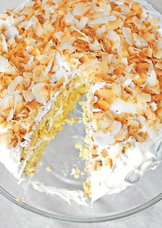 Pineapple Cake Recipe with Fluffy 7-Minute Frosting and Toasted Coconut #cake shewearsmanyhats.com