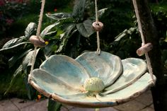 Bird baths - ceramic bird baths, insect baths, blue flowers - a design . - Gartenideen - Bird baths – ceramic bird bath, insect bath, blue flower – a unique product by Atelier-MJ-Arts o - Ceramic Bird Bath, Diy Bird Bath, Ceramic Birds, Ceramic Decor, Ceramic Design, Ceramic Poppies, Garden Bird Feeders, Slab Ceramics, Concrete Leaves