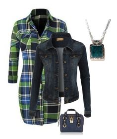 """Blue/Green plaid"" by im-karla-with-a-k ❤ liked on Polyvore featuring LE3NO and Dsquared2"