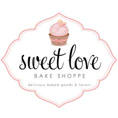 Custom Logo Design for Sweet Love Bake Shoppe // Logo Design by Coconut Press Cake Logo Design, Food Logo Design, Logo Food, Custom Logo Design, Custom Logos, Logo Dulce, Candy Logo, Sweet Logo, Baking Logo
