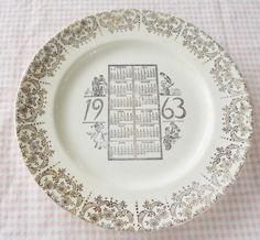 Souvenier Plate 1963  Gold Filligree Cream by RosebudsOriginals, $12.95
