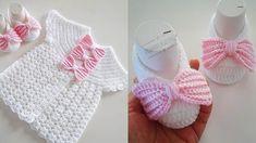 Yuvarlak Robalı Fiyonklu Bebek Yeleği ve Patik Yapılışı Baby Knitting Patterns, Baby Patterns, Baby Vest, Crochet Baby, Crochet Projects, Tatting, Baby Gifts, Crochet Necklace, Baby Shoes
