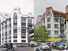 Dito, Noon: The Edificio Luis Pérez Samanillo 1920 x First United Building 2020 #kasaysayan This heritage building, along Escolta and Calle David, was designed in art-deco by Andrés Luna de San Pedro and Juan F. Nakpil de Jesús; and built in 1928. It was home to Berg's Department Store and the Spanish Consulate before WWII. Present Day, Department Store, Manila, Wwii, Spanish, Art Deco, Street View, David, Journey