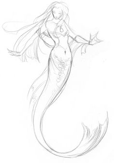 Finished Mermaid Sketch from Dreamscapes by Stephanie Pui-Mun Law
