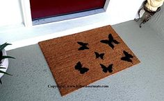 Scattered Butterflies Doormat, Size Small - Welcome Mat - Doormat - Custom Hand Painted Doormat by Killer Doormats. Butterflies are beautiful creatures. Butterflies are flying bugs. They are only good for squishing under the heel of your boot....just kidding! But if you really want to step on the majestic butterfly without feeling guilty, here is a butterfly doormat in which you can step on those fluttery bugs to your little hearts content. Care: Easy to keep clean, just vacuum or shake…