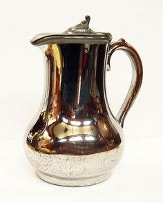 Antique Water Jug Pitcher Hand Painted with Pewter Lid by Yonks, $46.00