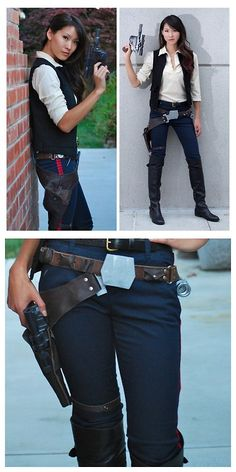 halloween costumes women DIY Han Solo Cosplay Tutorials from The Stylish Geek. This is a 4 part series of posts including tips and tutorials for the shirt, pants, vest, belt buckles, accessories and gun. The Right Top Photo. Han Solo Cosplay, Han Solo Costume, Best Cosplay, Hans Solo Costume Diy, Han Solo Outfit, Han Solo Belt, Geek Costume, 50s Costume, Hippie Costume