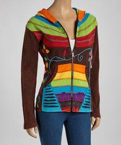 Brown Bright Rainbow Hoodie