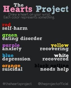Red, blue, orange, outlined in white. March 1st is self-harm awareness day! Put a heart or semicolon on your wrist!