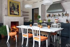Marble + Rustic base Dining Table: Brooke Shields at Home in New York : Architectural Digest