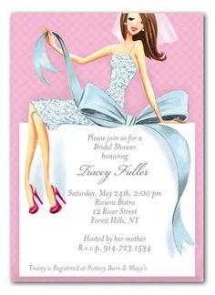 Bridal shower card invitation templates templates pinterest beautiful bride with bow brunette bridal shower invitation bridalshowerinvite stopboris Image collections