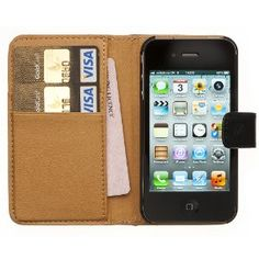 Amazon.com: Fonerize Mens Leather Wallet & iPhone 4 4S Case Credit Card Holder - Black & Tan: Cell Phones & Accessories
