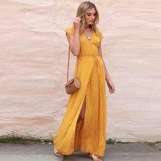 26e034b6bb8 Womens Summer Sundress Dot Long Boho Dress Lady Beach Maxi Dress clothes  Fashion long Party dress