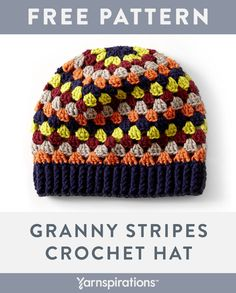 Enjoy this vibrant, granny stripes hat in no time, easily crocheted in Bernat Super Value Stripes yarn. Easy Crochet Hat Patterns, Crochet 101, Crochet Gifts, Learn To Crochet, Free Crochet, Crochet Style, Granny Stripes, Granny Stripe Crochet, Crochet Beanie