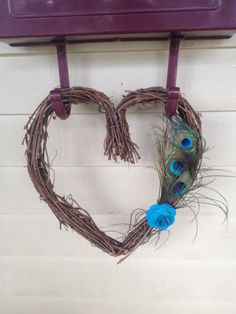 Heart Shaped Grapevine Wreath with Peacock Feathers by JoansJarBar, $20.00