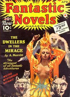 VIRGIL FINLEY - art for Dwellers in the Mirage by A. Merritt - April 1941 Fantastic Novels