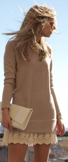 plain long sweater with lacy skirt, statement necklace