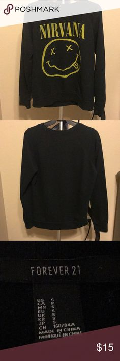 Nirvana Sweater 🤪 Forever 21 Black Nirvana Sweater 🤪 stretchy Cotton, Size small. Lightly wore and very comfortable.  Thanks for shopping my closet!! 🌻💋 Forever 21 Sweaters Crew & Scoop Necks