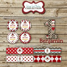 Sock Monkey Personalized Birthday Party Pack: printable invitation, thank you, banner, sign, party circles, favor tags, food/drink labels. $35.00, via Etsy.
